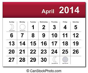 April 2014 calendar - EPS10 vector file. April 2014...