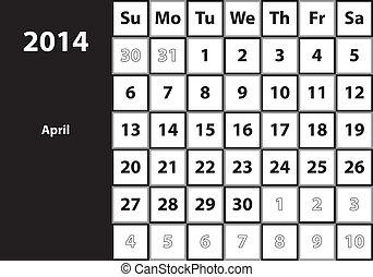 April 2014 HUGE monthly calendar