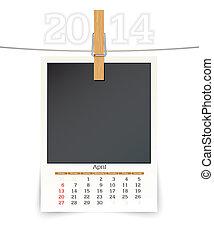 april 2014 photo frame calendar