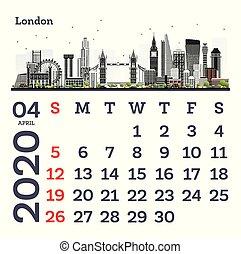 April 2020 Calendar Template with London City Skyline.