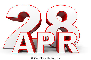 April 28. 3d text on white background. Illustration.