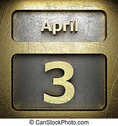 april, 3, gylden, tegn
