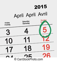 April 5, 2015 - Catholic Easter. Illustration calendar in...