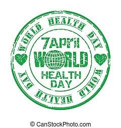 April 7. World Health Day. Green grunge rubber stamp