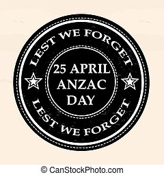 april anzac day stamp - april anzac day grunge stamp with on...