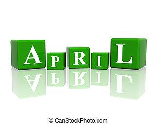 april, blokje, 3d