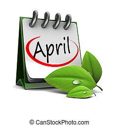 3d illustration of spring calendar, april page