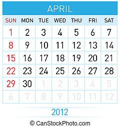 April Calendar. Illustration on white background for design