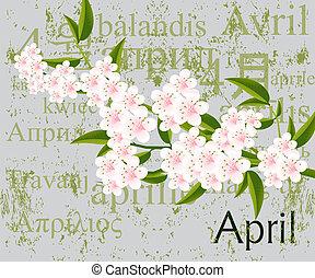 April - Calendar concept, simple to edit it, all the dates...