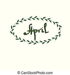 april, cirkel, bloemen