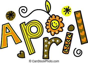 April Clip Art - Whimsical cartoon text doodle for the month...