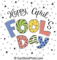 april, dag, illustration, fools