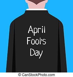 april fool day like man in suit prank. concept of party,...