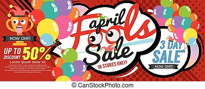 April Fool Sale 1500x600 pixel Banner Vector Illustration