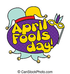 april fools day - april foods day illustration with jester...
