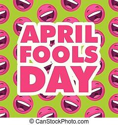april fools day emoticons smiling background vector illustration
