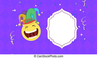 april fools day card with emoji laughing and joker hat ,4k ...