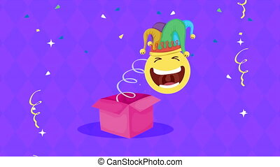 april fools day card with emoji laughing in surprise hat and...