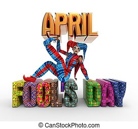 April Fool's Day Clipart - 3D rendering clipart celebrating...