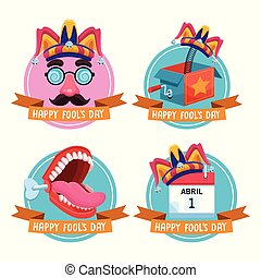 April fools day emblems with ribbon banner and joke cartoons vector illustration graphic design