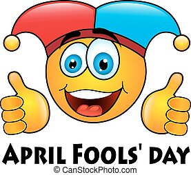 April Fools' day - round yellow emoticon in jester cap on...