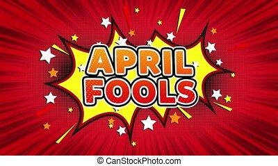 April fools Text Pop Art Style Comic Expression. - April...
