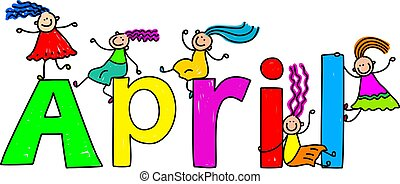 april - Happy little girls climbing over the childs name...