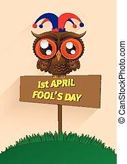 april., ilustración, día, abril, fool's, primero