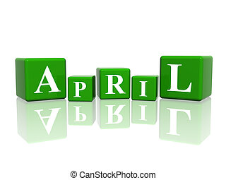 april in 3d cubes - 3d green cubes with letters makes april