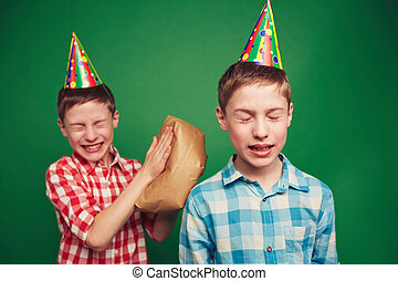 April joke - Twin boys making fun on April fool?s day