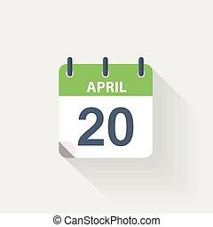april, kalender, 20, pictogram