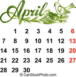 april, kalender, 2014