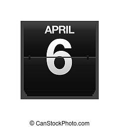 april, kalender, toonbank, 6.
