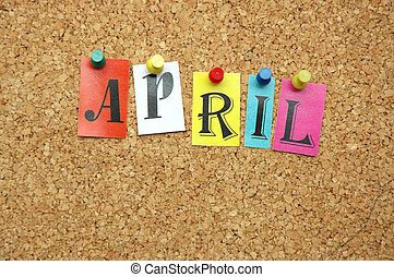 April, month pinned on noticeboard