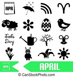 april month theme set of simple icons eps10