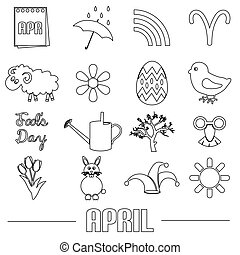 april month theme set of simple outline icons eps10