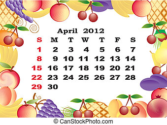 April - monthly calendar 2012 in colorful frame