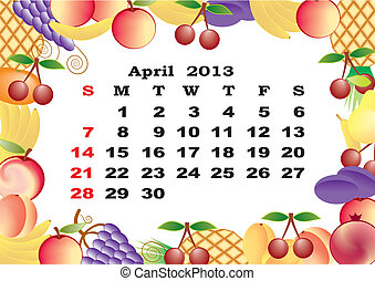 April - monthly calendar 2013 in frame with fruits