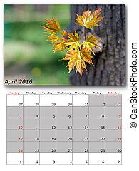 april nature calendar page layout