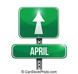 april, ontwerp, illustratie, meldingsbord