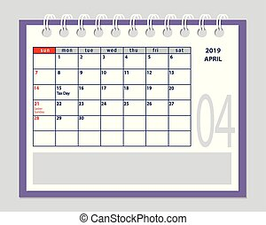 April page 2019 planner calendar with marked tax day