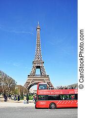 april, paris, bus, eiffel, -, gegen, frankreich, exkursion, ...