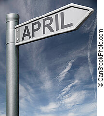 april road sign clipping path