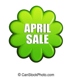 April sale green flower label