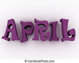April sign with colour. 3d paper illustration.
