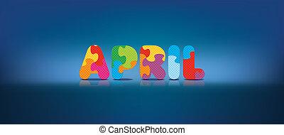 april, skriftligt, problem, alfabet