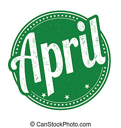 April stamp - April grunge rubber stamp on white background,...
