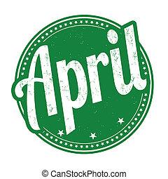 April stamp - April grunge rubber stamp on white background,...