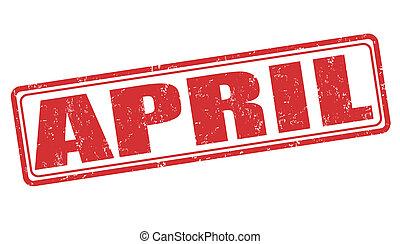 April grunge rubber stamp on white background, vector illustration