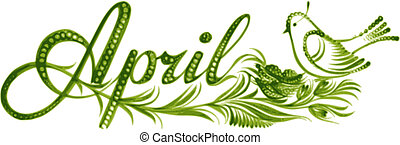 April, name of the month, hand drawn, vector, illustration in Ukrainian folk style